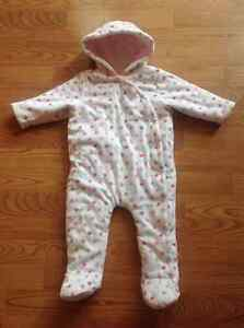 Pink & white snowsuit/bunting, 9-12 months, like new