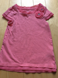 Girls coral shirt with tulle size 4 worn once