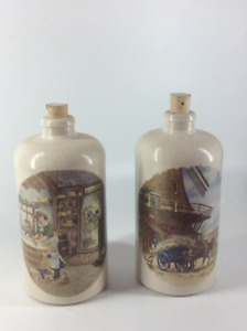 Vintage German Stoneware Bottles With Painted Scenes