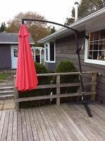 10' Red Offset Deck Umbrella - $75