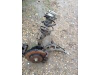 Bmw e46 complete front near side suspension with lower control arm and both front brake calipers
