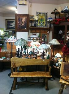 Tiffany Style Lamps and live edge furniture