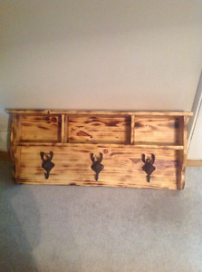 Brand new hand made wood shelf/moose head coat hooks
