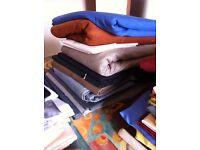 Fabrics: wools, silks, faux silk, leather, trimmings, fastenings