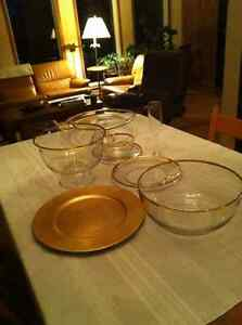 Glass Dinnerware Set - gold rimmed - Anchor Hocking NEW PRICE
