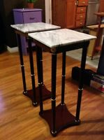 2 marble top stands set