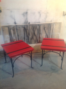 pair of red,black metal highlights,black metal legs end tables