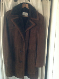 Vintage Dark Brown Suede Winter Jacket