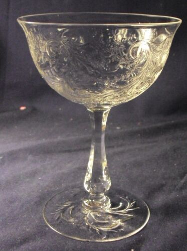 Webb rock crystal champagne glass saucer floral detailed cutting
