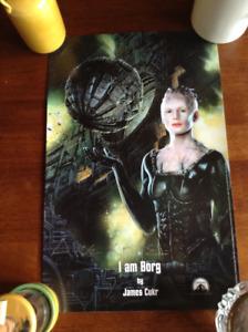 "Poster Star Trek ""I am Borg"" portant signature d'Alice Krige"