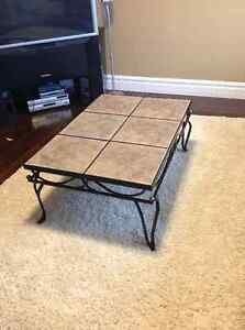 Ceramic & iron coffee table and end table ($125 for both)