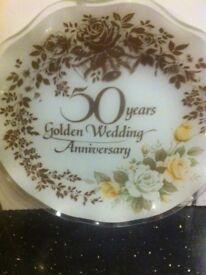 50 Years Golden Wedding Anniversary Plate