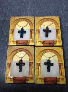 4 Dichroic Art Cross pendants complete with chains