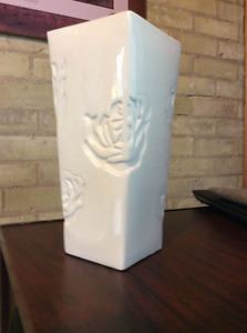 Large White Vase with Roses
