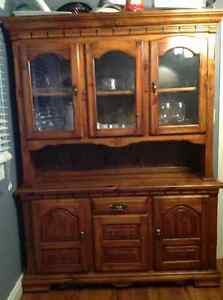 Dining table and matching hutch, heavy duty