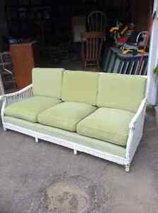 Vintage Wicker Sofa- White c/w Original Coil Spring Cushions