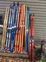 Old wooden x country skis