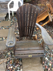 Two muskoka style wooden chairs,4 canvas chairs , patio table