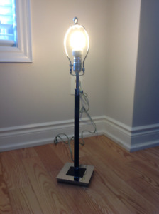 ROOTS Black Leather Wrapped Lamp Base
