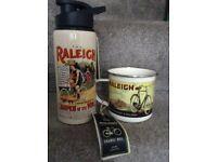 Raleigh Tin flask and mug