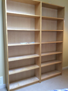 Ikea maple finish book  cases (2)  like new