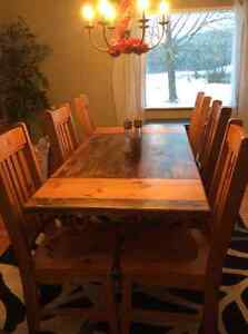 Solid pine harvest table with 6 solid pine chairs to match