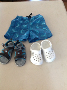 Swim suit and 2 pairs of sandals and water shoes