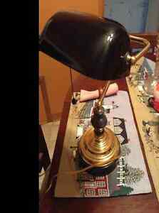 Vintage Glass,Brass,and Marble Bankers desk Lamp