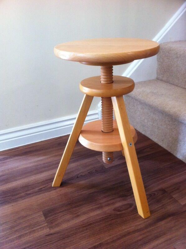 Ikea 3 Legged Wooden Stool Adjustable Seat Height In