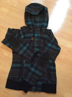 Blue plaid MEC wool hoody