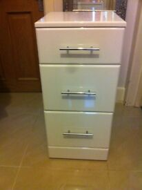 White gloss bedside cabinet set of drawers