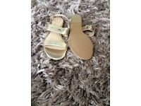 Ladies gold sandals