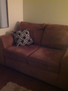 Tan micro suede love seat for sale