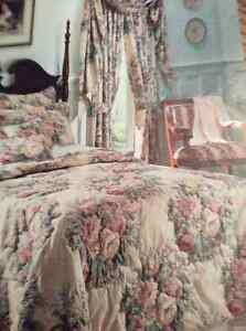 Beautiful quilted queen size bedspread etc.