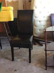 4 Brown Faux Leather Parson-Style chairs