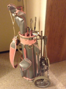 Spalding golf bag wheeled and golf clubs