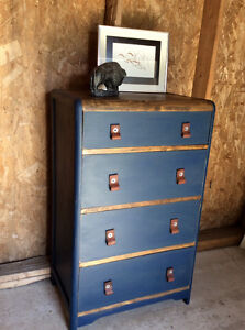 Unique Navy Dresser with Leather Pulls