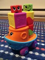 Fisher-Price Stack 'n Surprise Blocks Blockity-Pop Tugboat
