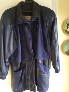 LEATHER & SUEDE NAVY JACKET