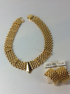 Cara Mia Gold-Toned Necklace and Matching Earrings