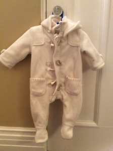 Sweet cream baby unisex fleece snowsuit with toggles, 6 months