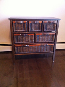 Wood and wicker six drawer dresser/cabinet