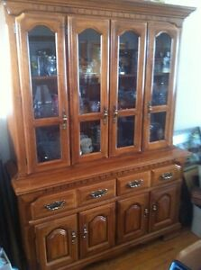 Solid Maple Two Piece Hutch with Light