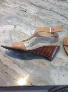 Franco Sarto nude leather wedge sandals