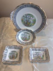 "Royal Albert ""Silver Birch"" Serving Dishes"