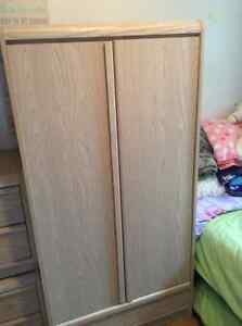 Blonde Wardrobe with two end tables