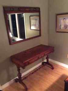 Antique Side Table and Mirror