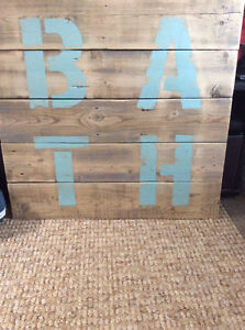 Rustic signs and canvas picture