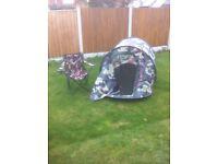 Pop up tent chair & sleeping bag
