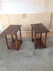 Two handcrafted brand new end tables